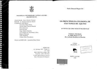 Os princípios da filosofia de Santo Tomás de aquino - As vinte e quatro teses fudamentais - Pe. Edouard Hugon.pdf