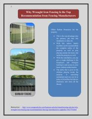 Why Wrought Iron Fencing Is the Top Recommendation from Fencing Manufacturers Capalaba.pdf
