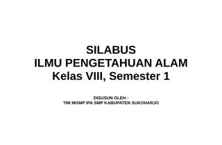 Silabus IPA Kls VIII Smt 1.doc