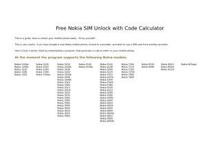 Free Nokia SIM Unlock with Code Calculator.doc